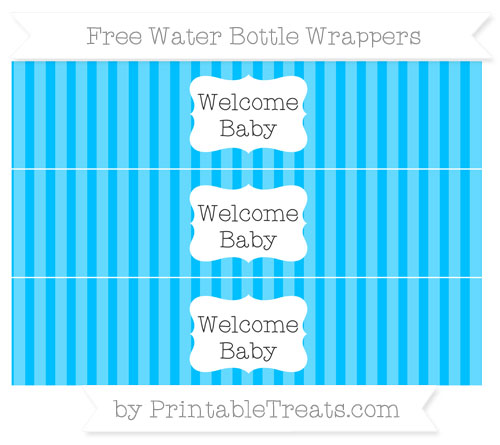 Free Deep Sky Blue Striped Welcome Baby Water Bottle Wrappers