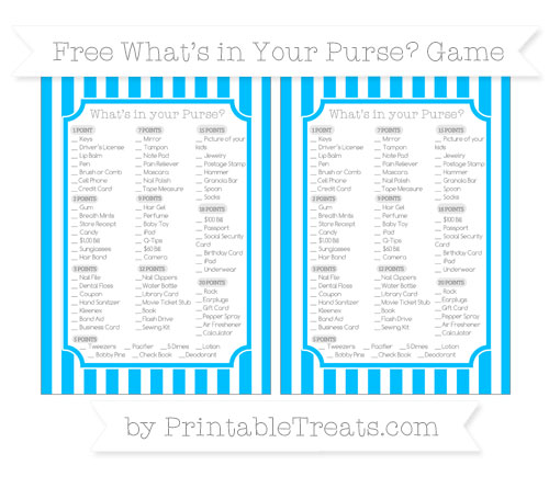 Free Deep Sky Blue Striped What's in Your Purse Baby Shower Game