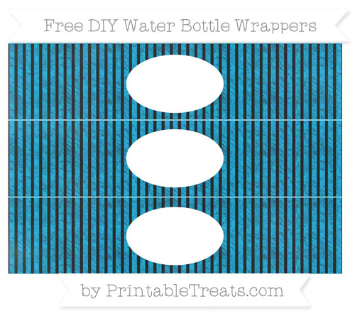 Free Deep Sky Blue Thin Striped Pattern Chalk Style DIY Water Bottle Wrappers
