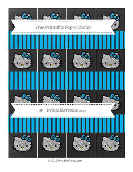 Free Deep Sky Blue Thin Striped Pattern Chalk Style Hello Kitty Paper Chains