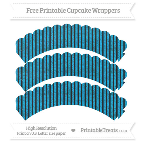 Free Deep Sky Blue Thin Striped Pattern Chalk Style Scalloped Cupcake Wrappers
