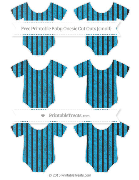 Free Deep Sky Blue Thin Striped Pattern Chalk Style Small Baby Onesie Cut Outs