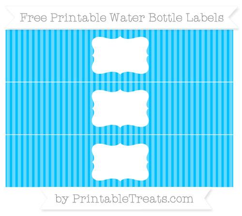 Free Deep Sky Blue Thin Striped Pattern Water Bottle Labels