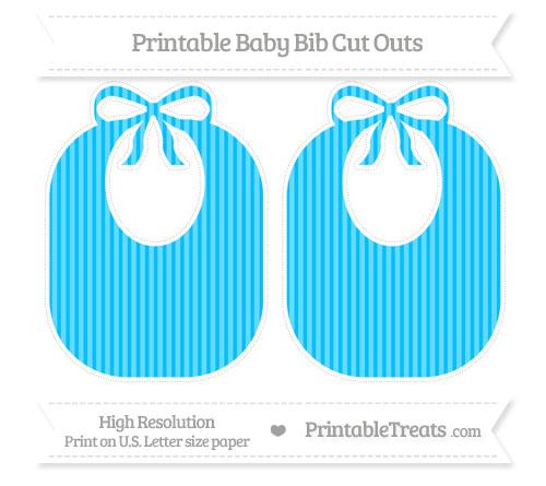 Free Deep Sky Blue Thin Striped Pattern Large Baby Bib Cut Outs