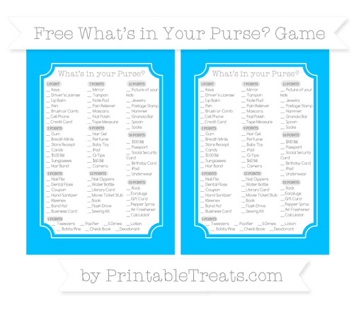 Free Deep Sky Blue What's in Your Purse Baby Shower Game