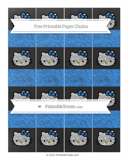 Free Dodger Blue Chalk Style Hello Kitty Paper Chains