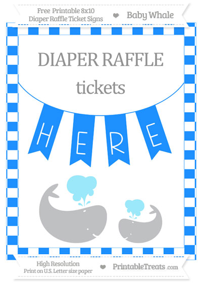 Free Dodger Blue Checker Pattern Baby Whale 8x10 Diaper Raffle Ticket Sign