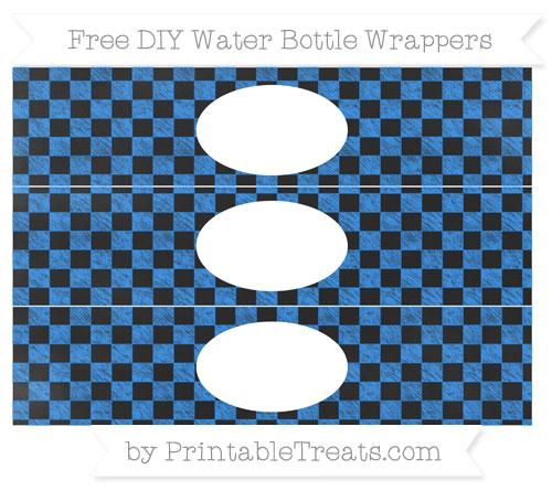 Free Dodger Blue Checker Pattern Chalk Style DIY Water Bottle Wrappers