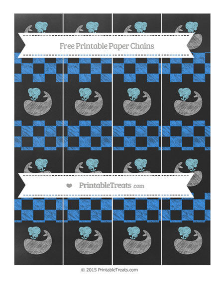 Free Dodger Blue Checker Pattern Chalk Style Whale Paper Chains