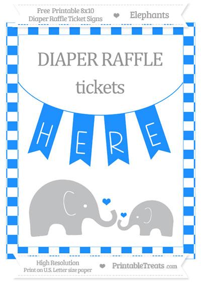 Free Dodger Blue Checker Pattern Elephant 8x10 Diaper Raffle Ticket Sign