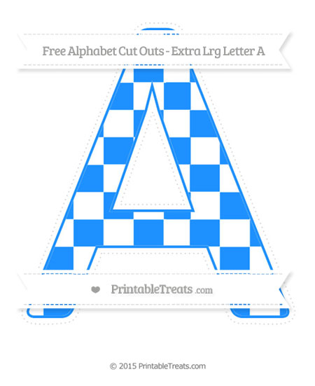 Free Dodger Blue Checker Pattern Extra Large Capital Letter A Cut Outs