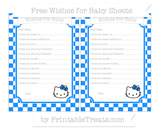 Free Dodger Blue Checker Pattern Hello Kitty Wishes for Baby Sheets