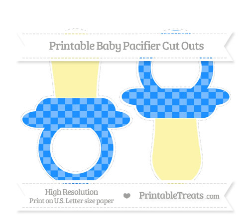 Free Dodger Blue Checker Pattern Large Baby Pacifier Cut Outs
