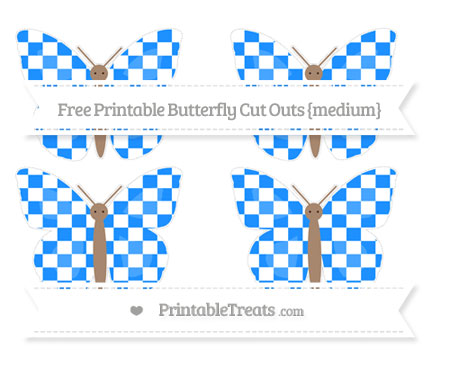Free Dodger Blue Checker Pattern Medium Butterfly Cut Outs