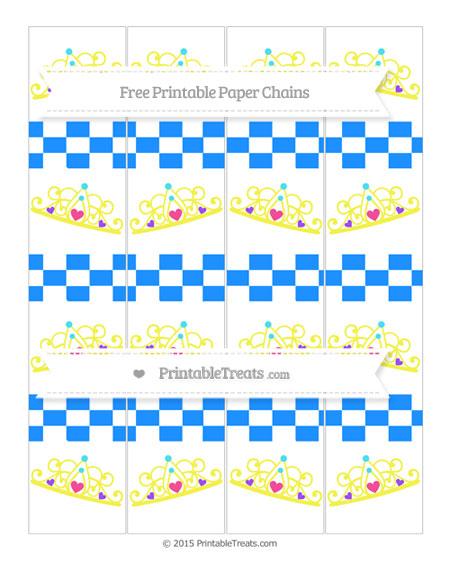 Free Dodger Blue Checker Pattern Princess Tiara Paper Chains