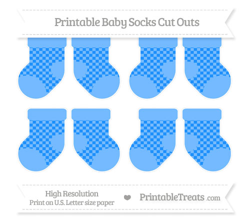 Free Dodger Blue Checker Pattern Small Baby Socks Cut Outs