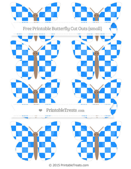 Free Dodger Blue Checker Pattern Small Butterfly Cut Outs