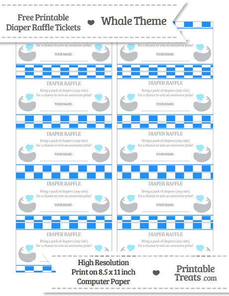 Free Dodger Blue Checker Pattern Whale Diaper Raffle Tickets