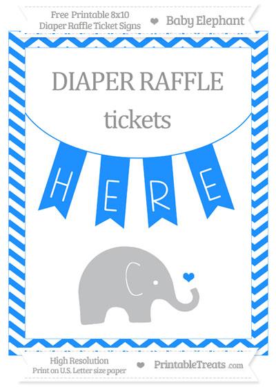 Free Dodger Blue Chevron Baby Elephant 8x10 Diaper Raffle Ticket Sign