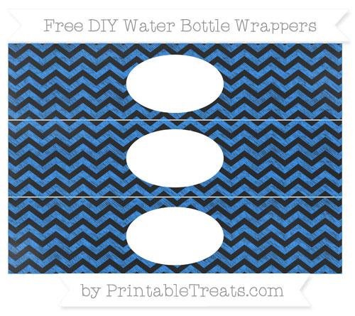 Free Dodger Blue Chevron Chalk Style DIY Water Bottle Wrappers