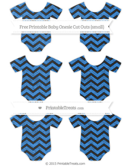 Free Dodger Blue Chevron Chalk Style Small Baby Onesie Cut Outs