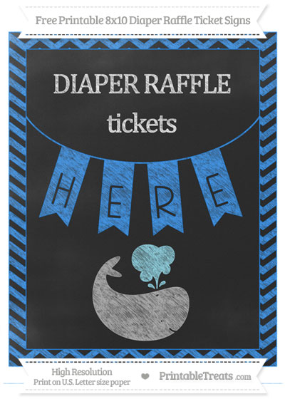 Free Dodger Blue Chevron Chalk Style Whale 8x10 Diaper Raffle Ticket Sign