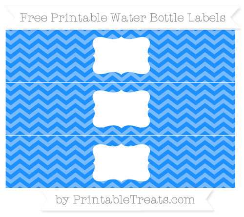 Free Dodger Blue Chevron Water Bottle Labels