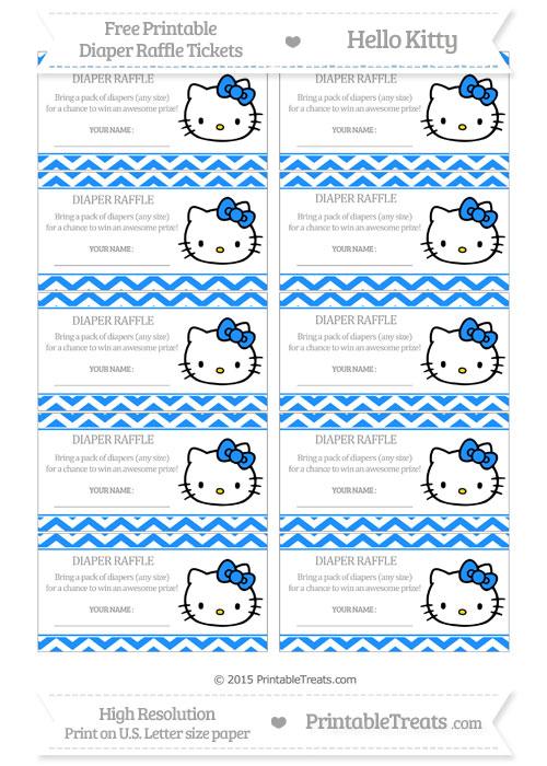 Free Dodger Blue Chevron Hello Kitty Diaper Raffle Tickets