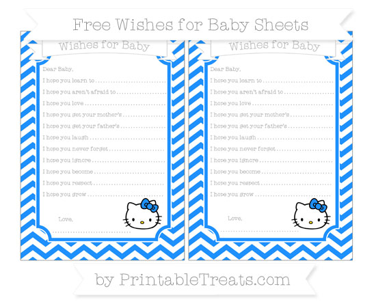 Free Dodger Blue Chevron Hello Kitty Wishes for Baby Sheets