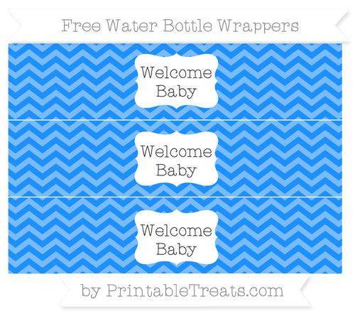 Free Dodger Blue Chevron Welcome Baby Water Bottle Wrappers