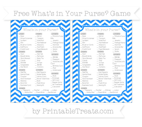 Free Dodger Blue Chevron What's in Your Purse Baby Shower Game