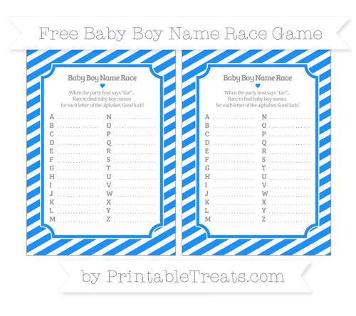Free Dodger Blue Diagonal Striped Baby Boy Name Race Game