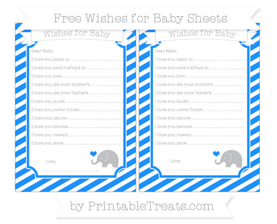 Free Dodger Blue Diagonal Striped Baby Elephant Wishes for Baby Sheets