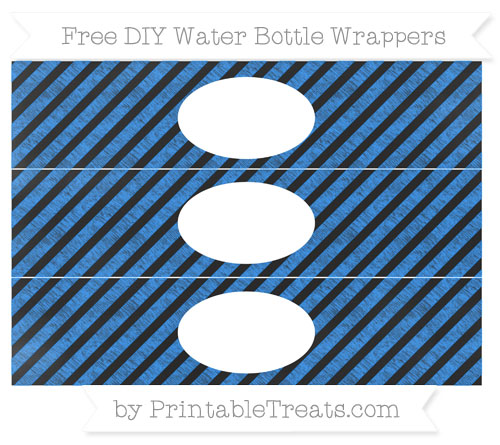 Free Dodger Blue Diagonal Striped Chalk Style DIY Water Bottle Wrappers