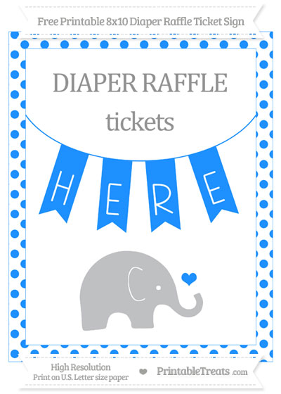 Free Dodger Blue Dotted Baby Elephant 8x10 Diaper Raffle Ticket Sign
