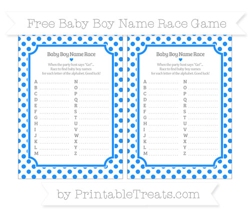 Free Dodger Blue Dotted Pattern Baby Boy Name Race Game