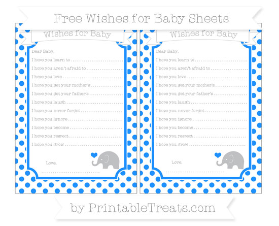 Free Dodger Blue Dotted Pattern Baby Elephant Wishes for Baby Sheets