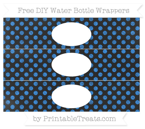 Free Dodger Blue Dotted Pattern Chalk Style DIY Water Bottle Wrappers