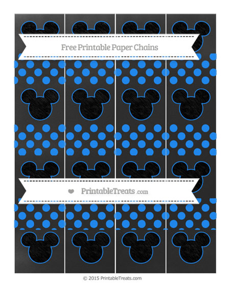 Free Dodger Blue Dotted Pattern Chalk Style Mickey Mouse Paper Chains