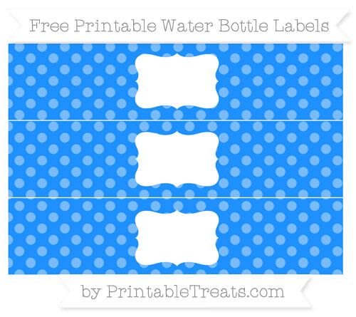 Free Dodger Blue Dotted Pattern Water Bottle Labels