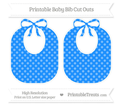 Free Dodger Blue Dotted Pattern Large Baby Bib Cut Outs