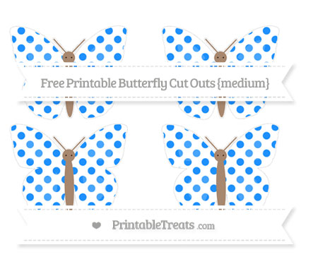 Free Dodger Blue Dotted Pattern Medium Butterfly Cut Outs