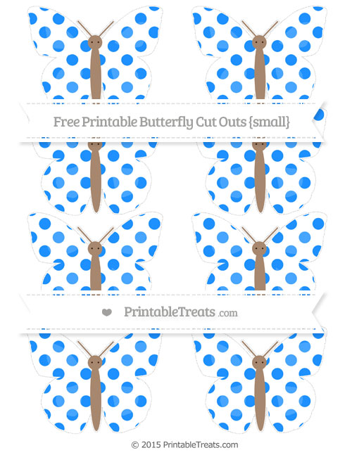 Free Dodger Blue Dotted Pattern Small Butterfly Cut Outs