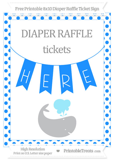 Free Dodger Blue Dotted Whale 8x10 Diaper Raffle Ticket Sign