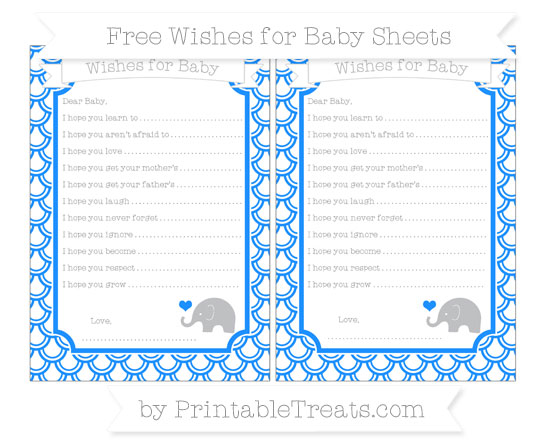 Free Dodger Blue Fish Scale Pattern Baby Elephant Wishes for Baby Sheets