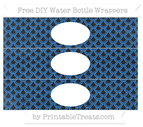 Free Dodger Blue Fish Scale Pattern Chalk Style DIY Water Bottle Wrappers