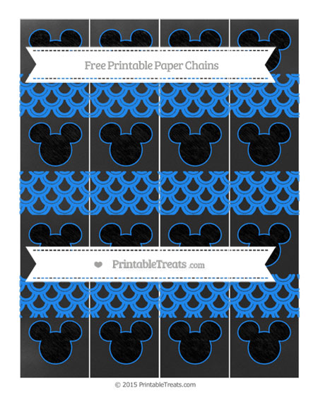 Free Dodger Blue Fish Scale Pattern Chalk Style Mickey Mouse Paper Chains