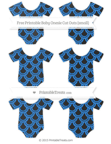 Free Dodger Blue Fish Scale Pattern Chalk Style Small Baby Onesie Cut Outs