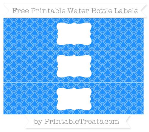 Free Dodger Blue Fish Scale Pattern Water Bottle Labels