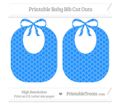 Free Dodger Blue Fish Scale Pattern Large Baby Bib Cut Outs